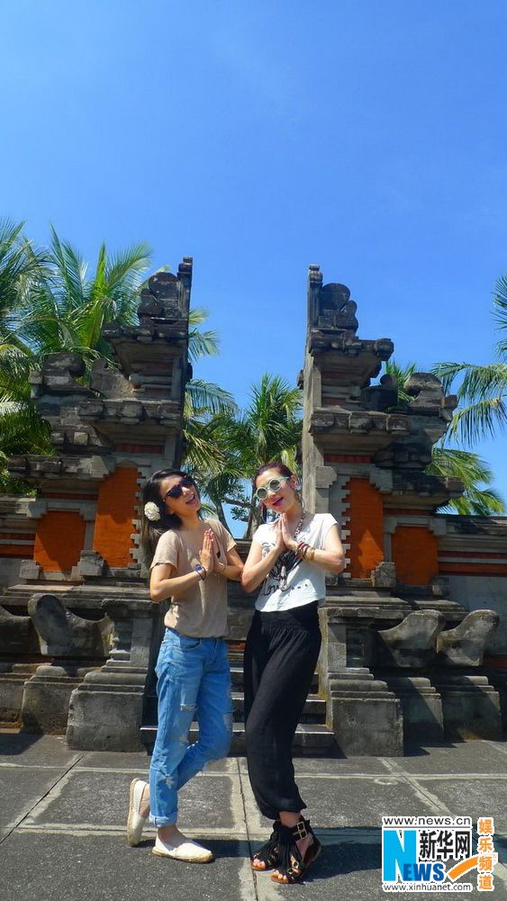 Singers Selina Jen and Hebe Tien of Taiwanese group S.H.E enjoy a holiday in Bali, Indonesia