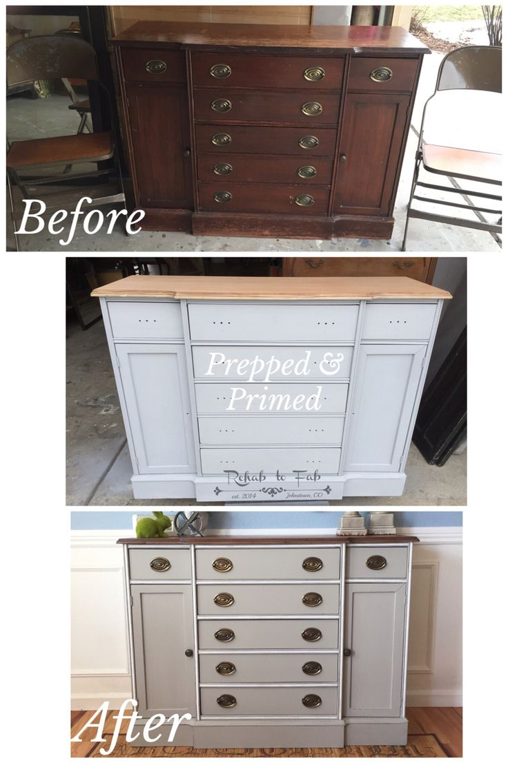 Hepplewhite buffet refinished @SherwinWilliams 'Intellectual Gray' done by Rehab to Fab.