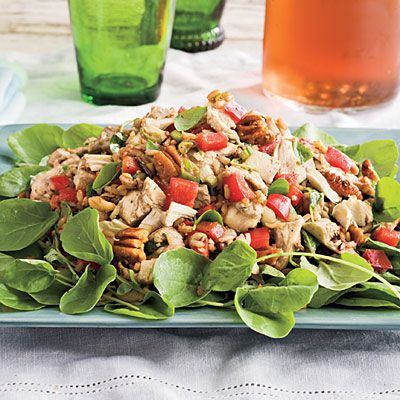 Chicken-and-Wild Rice Salad -     This healthy salad is table-ready in 25 minutes. Start with ready-to-serve whole grain brown and wild rice and add pecans, red bell pepper, and green onions for flavor.