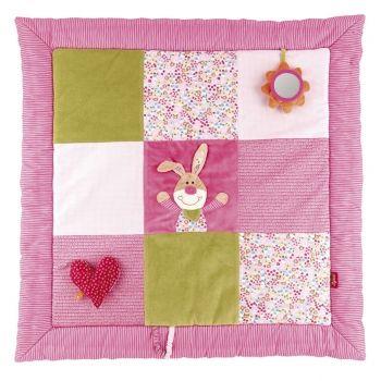krabbeldecke f r babys in pink gr n mit hasenmotiv und spiegel projekt krabbeldecke. Black Bedroom Furniture Sets. Home Design Ideas
