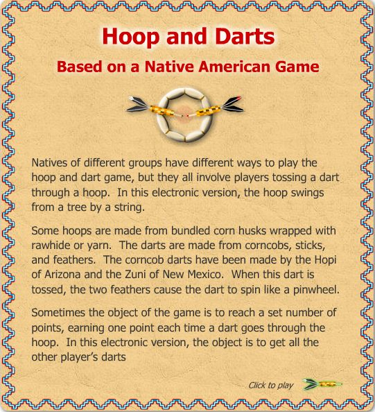 Hoops and darts: based on Native American game