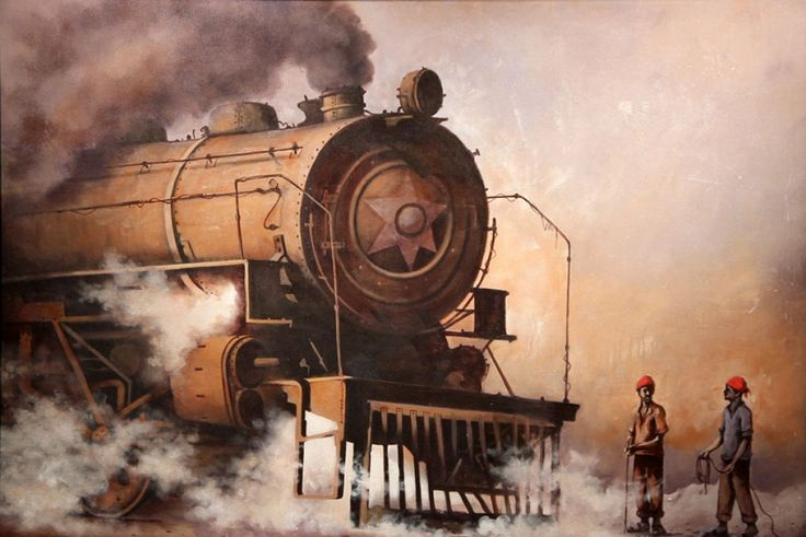 Indian Steam Locomotives 13 Painting, Acrylic on canvas art by Kishorepratim Biswas. Buy Indian Art online at BestCollegeArt.com