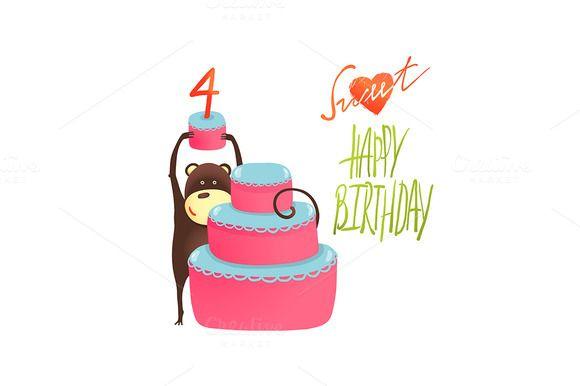 Monkey Cake Four Years Old Birthday by Popmarleo Shop on Creative Market