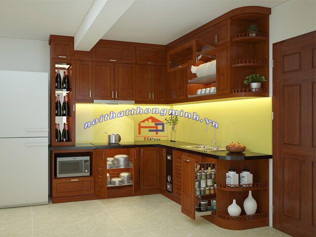 Mẫu Tủ bếp gỗ xoan đào Hoàng Anh TBXD259 chữ L giúp tận dụng tối đa không gian góc trong căn phòng mang lại cảm giác rộng rãi, thoải mái cho người nội trợ