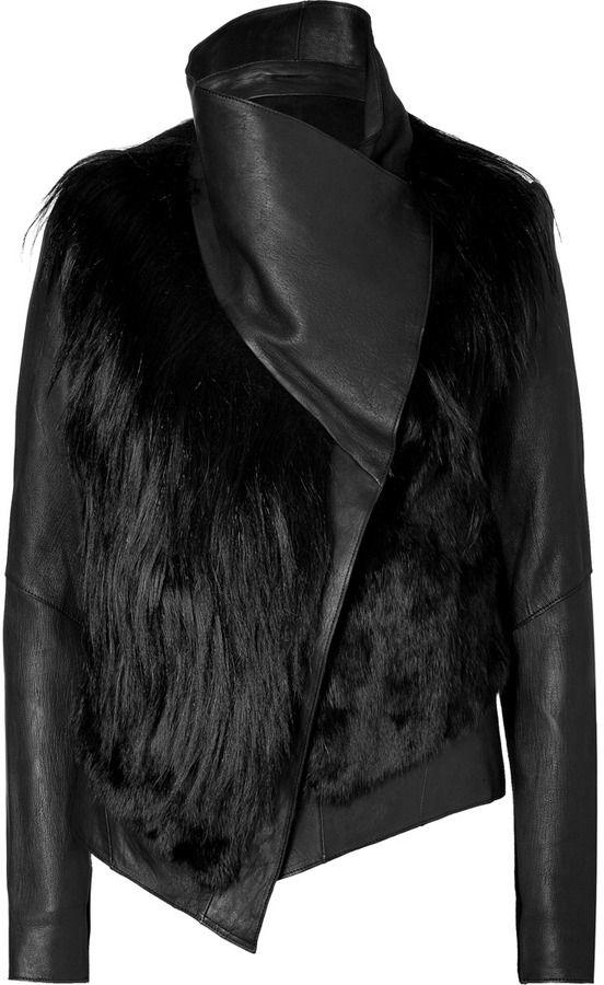 Helmut Lang Black Combo Leather Fur Jacket