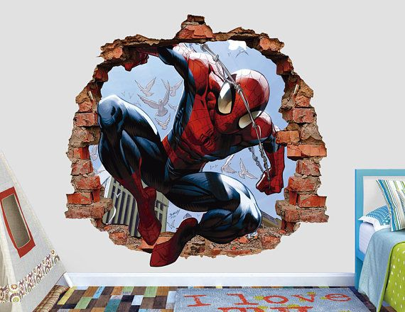 Spiderman Wall Decal 3D Smashed Wall Sticker Spiderman