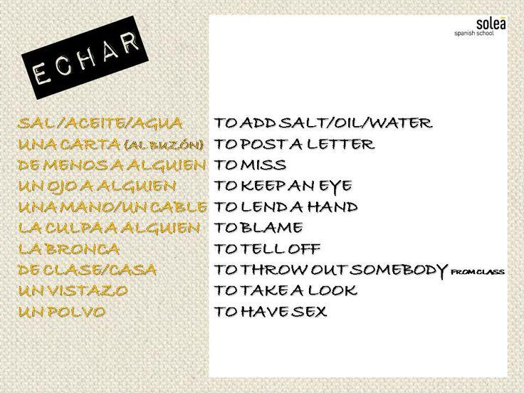 Significados en inglés del verbo echar