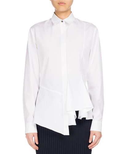 KENZO Long-Sleeve Collared Peplum Shirt, White. #kenzo #cloth #