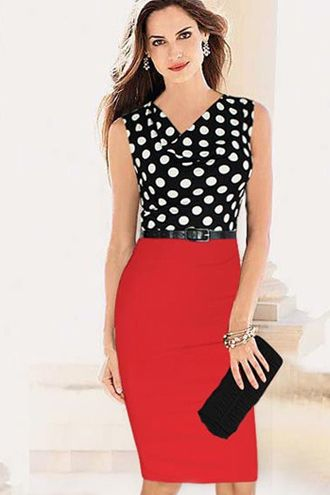 polka dot and red dress