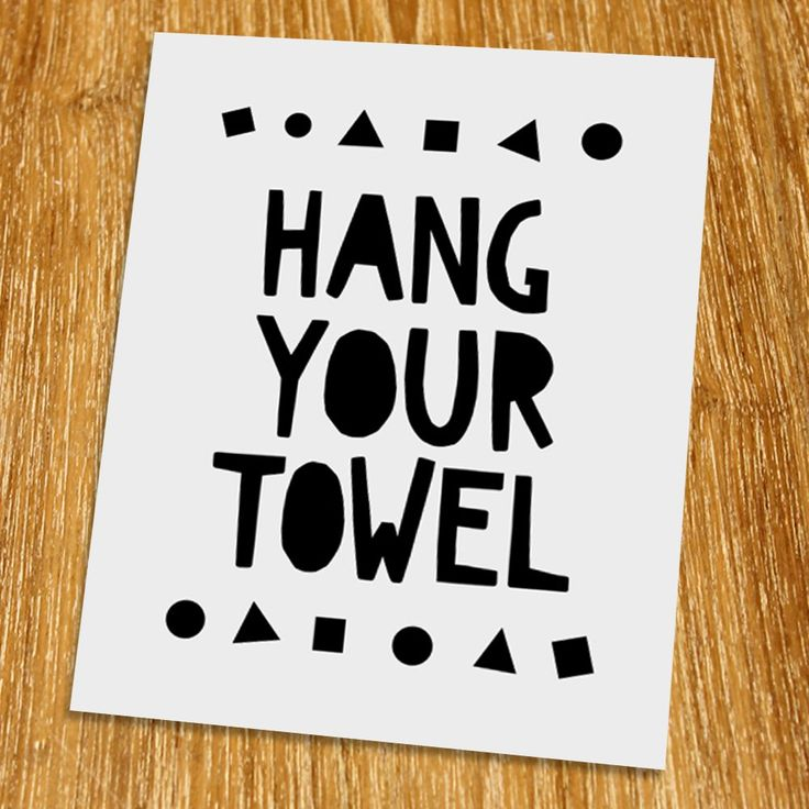 "Hang your towel Print (Unframed), Nursery Wall Art, Toilet Wall Decor, Scandinavian, Modern, Playroom Decor, Black and White, 8x10"", TB-037. Props and frame are not included. This work is designed by using a font that kids like. Kids like to look at simple picture not a complicated one. This artwork will reinforce child development. All kids will enjoy this artwork. This artwork is printed on premium heavy matte photo paper with fade-resistant ink."