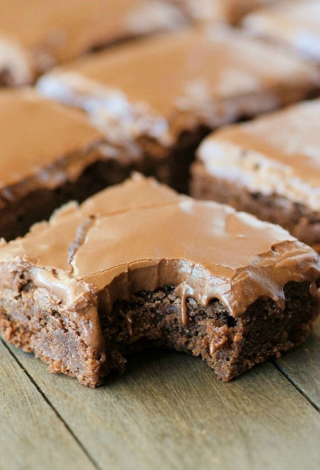 Use this most Pinned brownie recipe to make Lunch Lady Brownies.