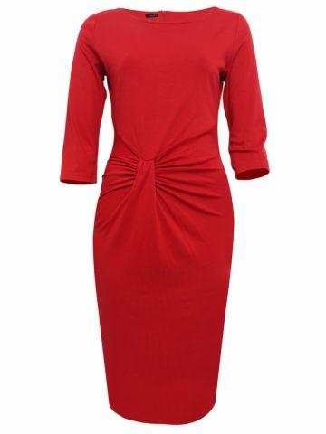 kup Kobieca sukienka z okrągłym dekoltem szykowna plus size czerwona sukienka & Sukienki - w Jollychic