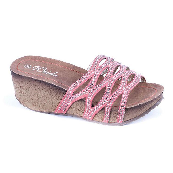 Papuci cu strasuri XY044 - Coral