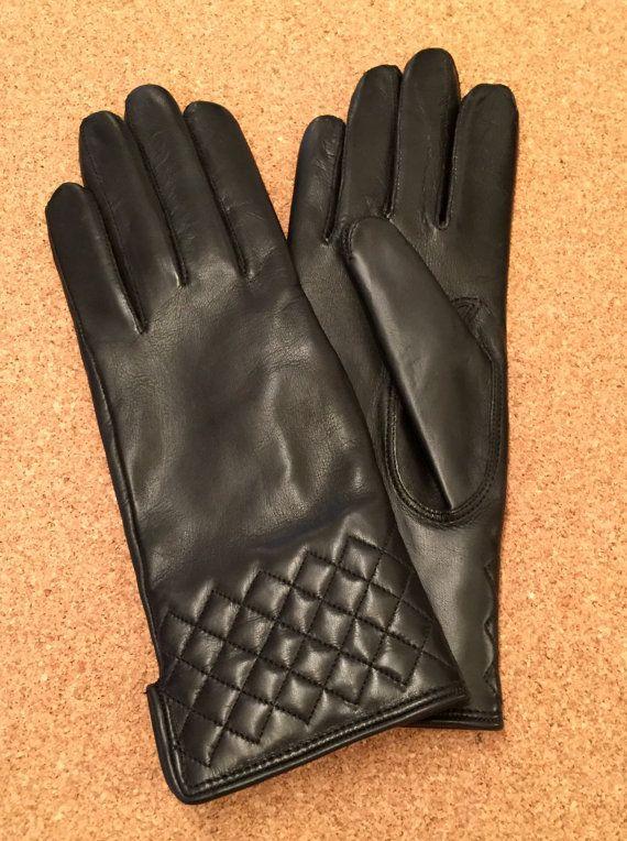 New winter gloves for women,gift for her, leather gloves,gloves for ladies.lambskin gloves,italian leather-black-gift-elegant,cotton/gift