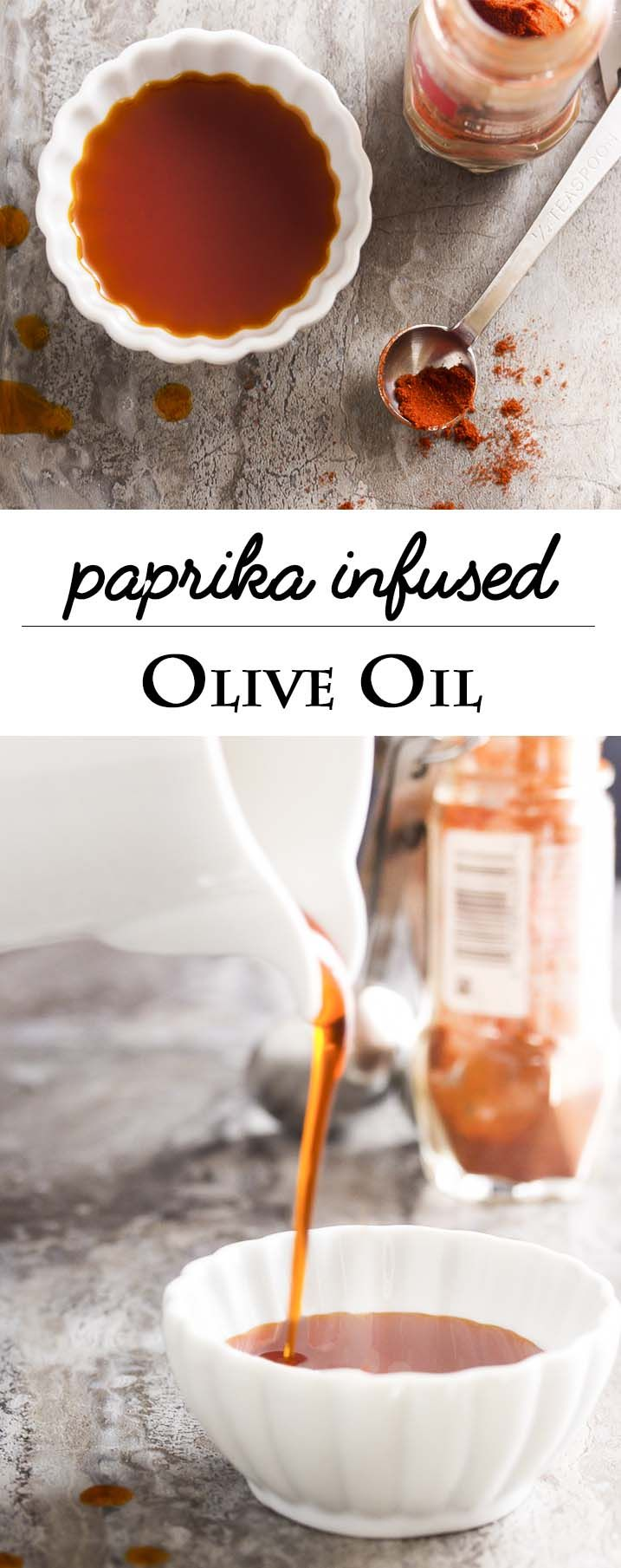 Quick and easy to make, paprika infused olive oil adds a great smokey flavor and colorful red garnish to all sorts of recipes. | justalittlebitofbacon.com