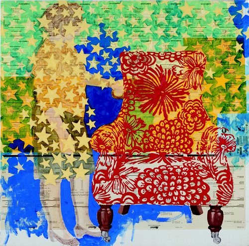 Sogno Americano, 2012, collage and oil on canvas, 90x90 Cm