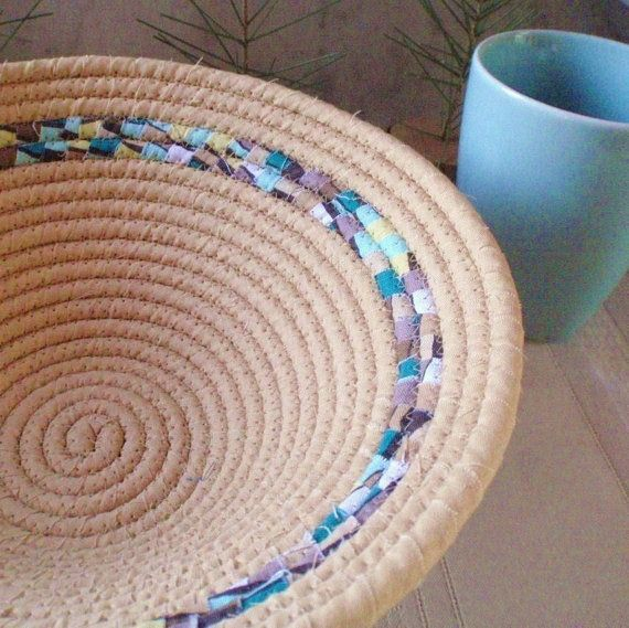 Tan With Teal Blue Yellow and Brown Stripe Coiled Fabric