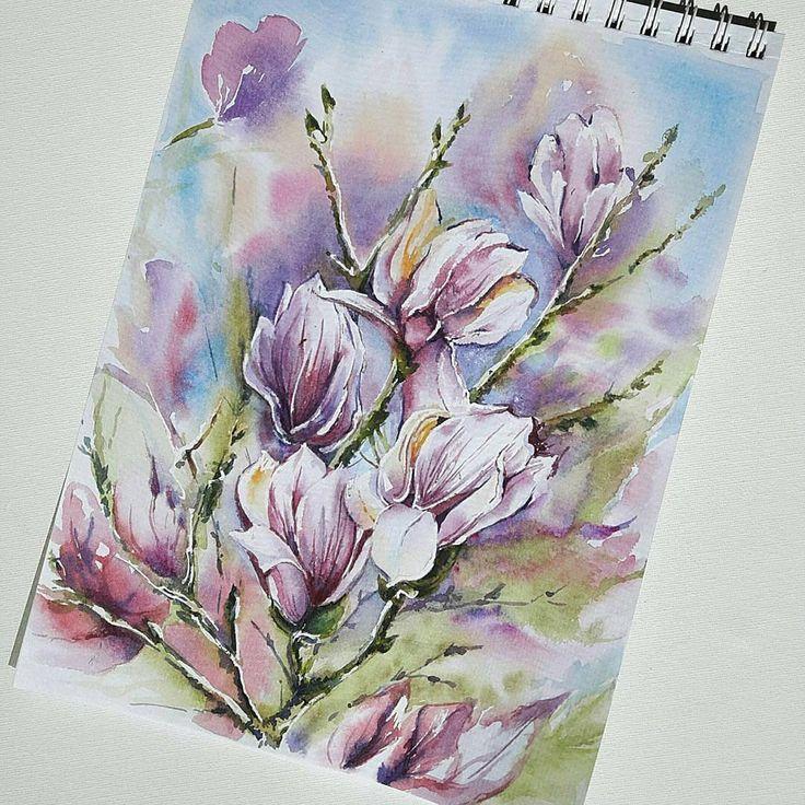 @olgcher_art -  Цветущие деревья магнолии -  воздушные розовые облака, то что надо для весеннего акварельного сюжета 🌹😊 . Подписывайтесь на нашу страницу, отмечайте фото хештегом #рисую_nacherdake. Лучшие работы попадут к нам в ленту! . .  #watercolor #watercolorartist #waterblog #aquablog #aquarellart #aquarella #inspiration #watercolor_spring #magnolia #art #nacherdake_gallery #watercolor_gallery #inspiring_watercolors #акварельнаяоттепель #акварель #акваблог #весна #вдохновение…