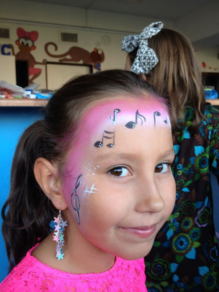 Pink music face paint