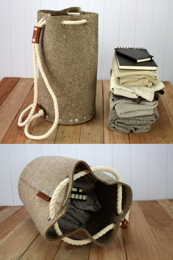 Mochila para hombre sentía mochila bolsa de lona / bolso de by Rambag | Etsy