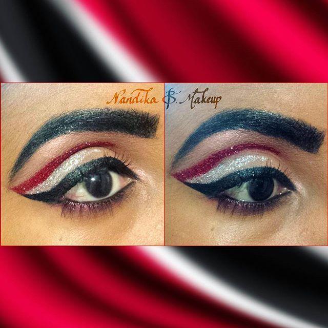 Happy Independence Day sweet T&T! 🔴⚪⚫ Late post but I hope everyone enjoyed their Independence Day holiday 😊  #NandikaBMakeup #ambrosiacosmeticstt #trinidadandtobago #trinimua #glittereyeliner #trinitodebone