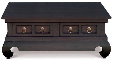 Cavier Mahogany Timber 4 Drawer Opium Leg Coffee Table 100 X 80