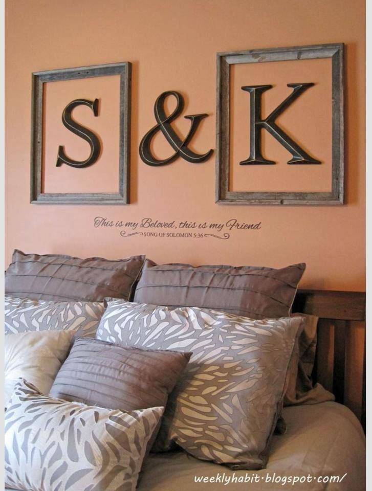 25 best ideas about monogram above bed on pinterest With monogram letters over bed