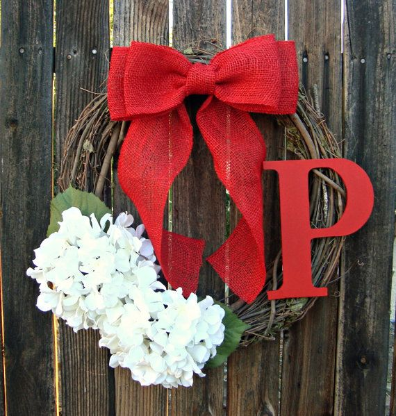 Christmas Wreath with Monogram - White Hydrangea Wreath - Red Burlap Bow - Initial Wreath - Christmas Gift - Christmas Decoration on Etsy, $43.00