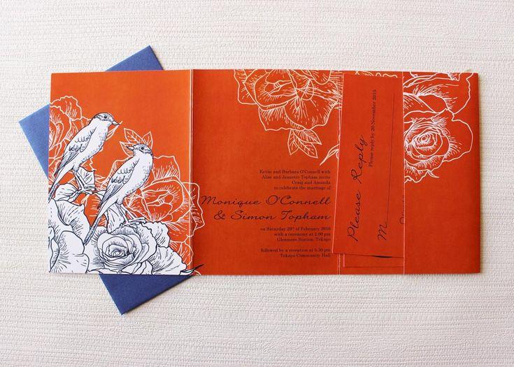 rustic bird wedding invite with orange and navy