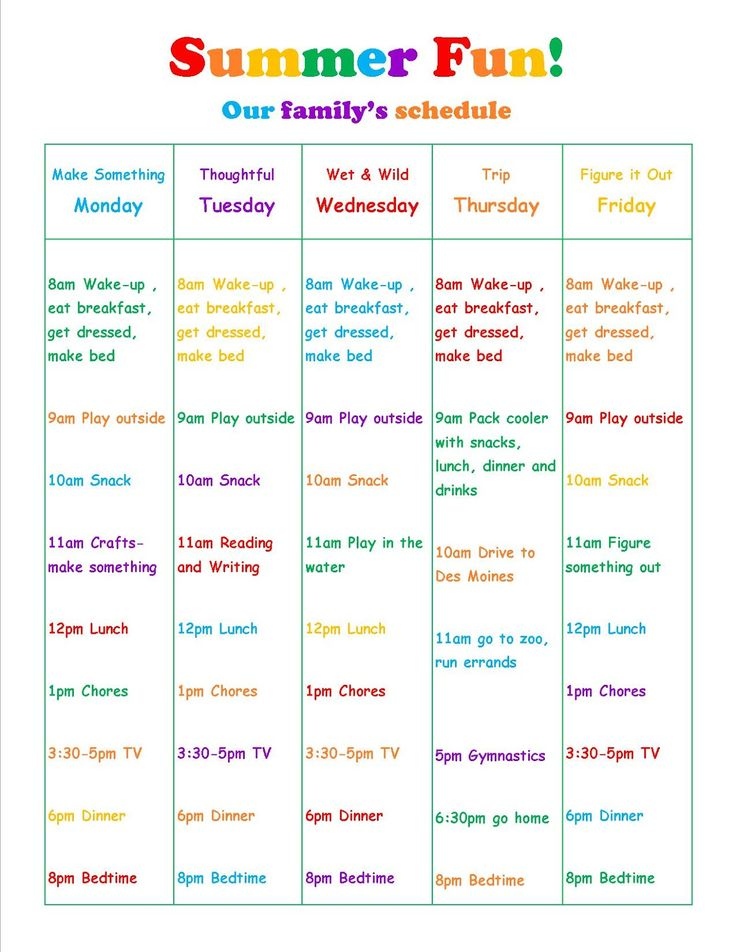 summer vacation daily schedule