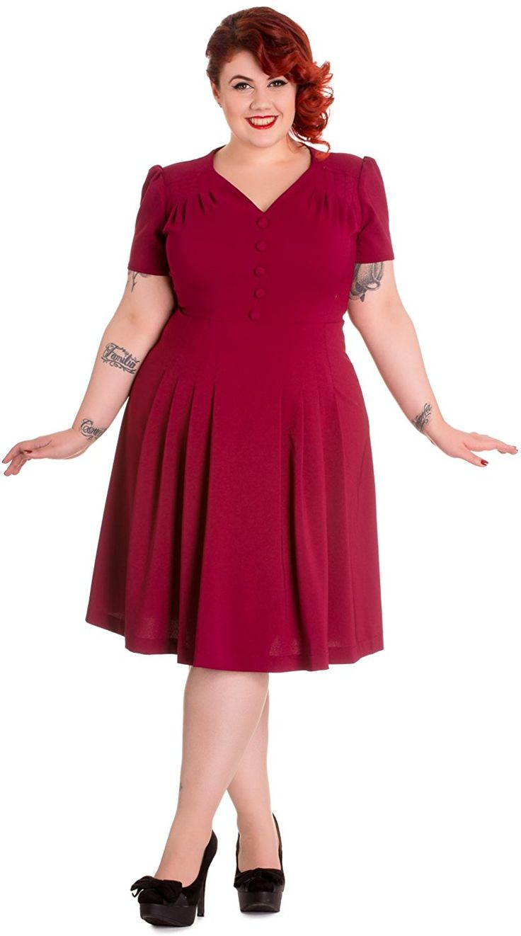 Hell Bunny Plus Size 40's Vintage Style Office Lady Moira Tea Dress (3XL, Rasberry) at Amazon Women's Clothing store: