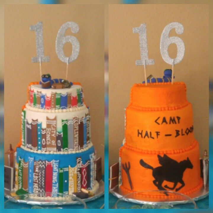 Daughters 16th Birthday cake. Percy Jackson themed. 2 cakes in one. Made by Heavenly Delights by Alaina