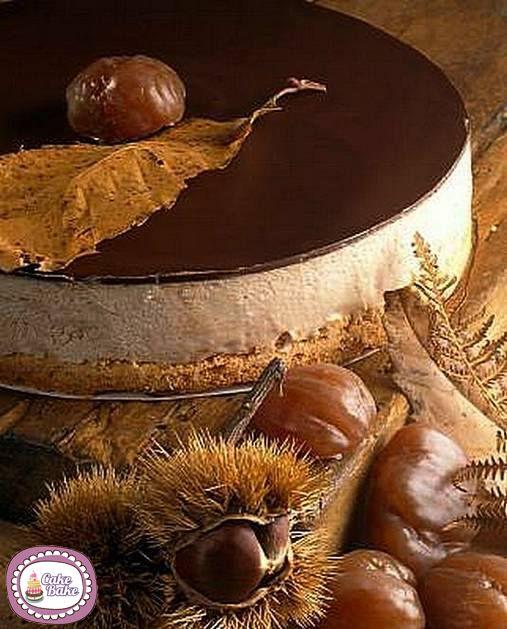 GATEAU MONT BLANC (Base : biscuit + beurre - CREME AUX MARRONS : 250 g de mascarpone, 100 g de crème de marron, 125 g de crème fouettée  5 cl de yaourt, 2 g de feuilles de gélatine - GARNITURE : 150 g de chocolat noir , 2,5 cl de crème)