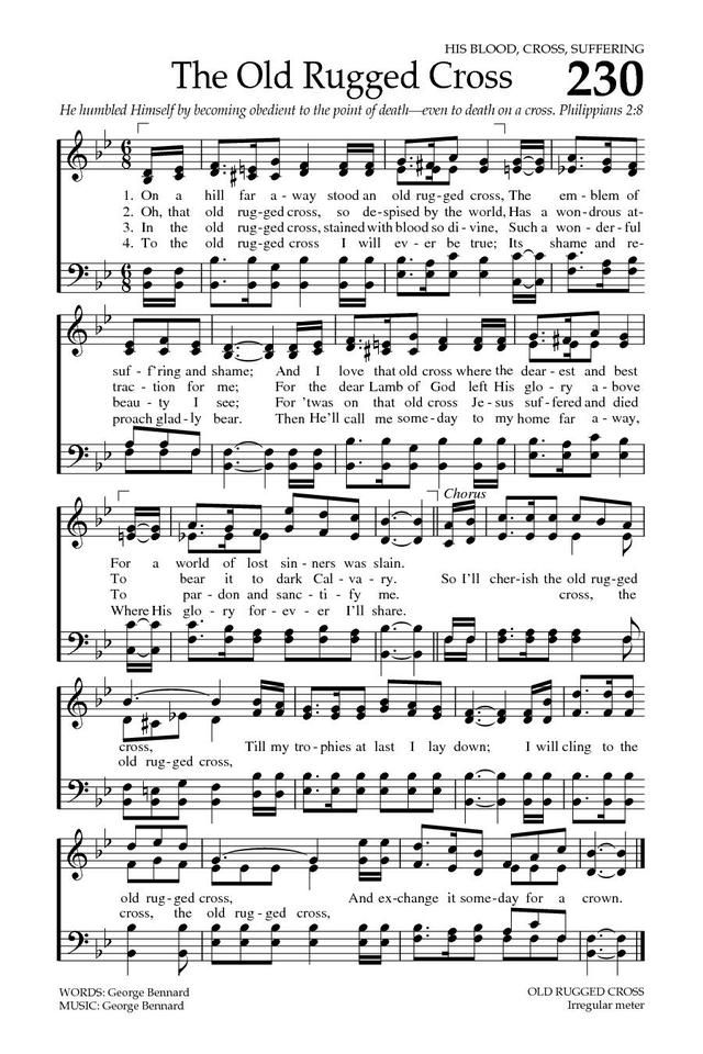The Old Rugged Cross. Baptist Hymnal 2008 page 325. Music SheetsSheet ...
