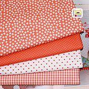 Материалы для творчества ручной работы. Ярмарка Мастеров - ручная работа Набор тканей для пэчворка Оранжевый базовый (51392) корейский. Handmade.