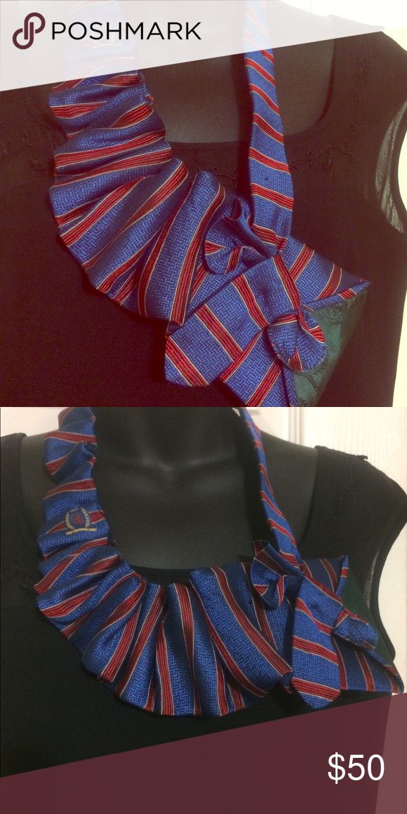 """Up cycled Designer Tielace🌟 Tommy Hilfiger designer Necktie redesigned into a """"Tielace"""" for the unique loving Fashionista🌟🌹👑 Tommy Hilfiger Jewelry Necklaces"""