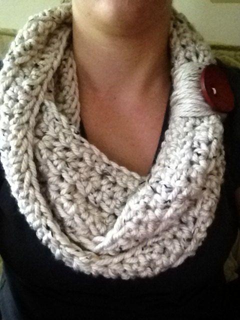 Creme crochet infinity scarf
