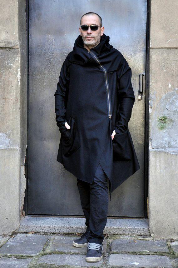 Black Casha Wool Extra Long Sleeves Men&39s Coat / Thumb by Aakasha