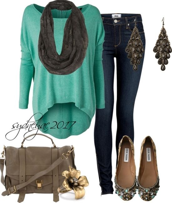 """Casual Fall Day"" love the sweater - Click image to find more women's fashion Pinterest pins"