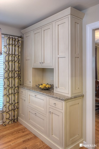 Kitchen: Off white or gray Shaker cabinet (island) with cup pulls? Crystal knobs for butler's pantry?Hoffman Estates IL kitchen - eclectic - kitchen - chicago - Tracy Grosspietsch Interiors