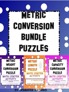 Metric Conversion Bundle includes the metric capacity conversion puzzle, metric length conversion puzzle and the metric weight conversion puzzle.  Conversions between metric units of measurement, some decimal use required.IncludedMetric Capacity conversions, Math CenterDirection sheet21 problems puzzleConversion Table WorksheetAnswer SheetMetric Length conversions, Math CenterDirection sheet21 problem puzzleConversion Table WorksheetAnswer SheetMetric Weight conversions, Math…