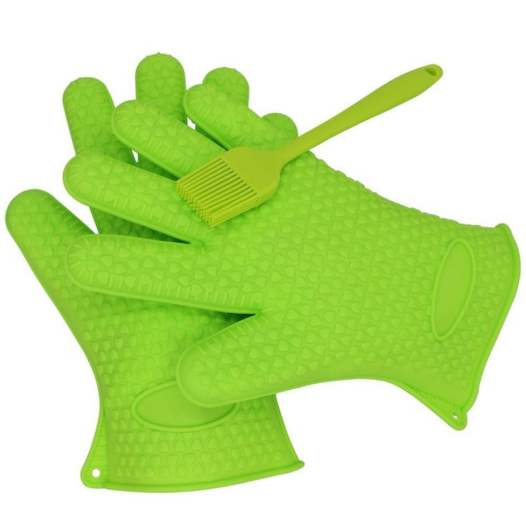 Silicone Heat Resistant Grilling BBQ Glove Set with a BBQ Grill Silicone Basting Brush -- Use As Potholder - Protective Oven, Grill, Baking, Smoking and Cooking Gloves(#best #bbq grilling #gloves )