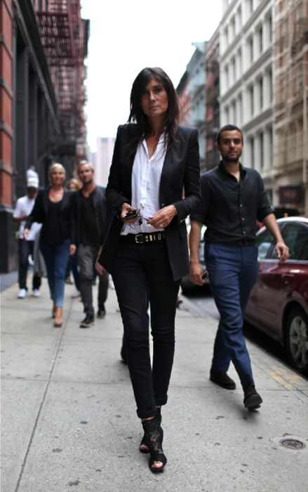 "Emmanuelle Alt of course. Black booties with a simple outfit make it ""creative"""