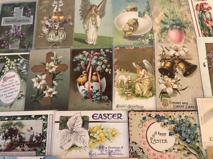 NICE LOT OF 25 VINTAGE  EASTER HOLIDAY POSTCARDS-CHICKS,BUNNY,ANGELS,1900's-p218 #Easter