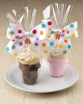 Cupcake Cones..I like the dipped cones and wrap