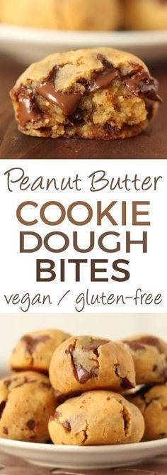 The Original Grain-free Peanut Butter Chocolate Chip Cookie Dough Bites - no flour, no sugar and no oil! Gooey, quick and easy with a surprise ingredient! Gluten-free with vegan and dairy-free options (please click through to the recipe to see them).