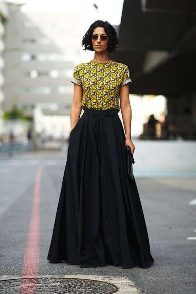 Cómo combinar las faldas largas en primavera: Fotos de los modelos - Falda larga conjunto
