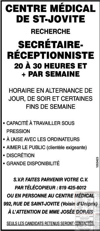 Secrétaire-réceptionniste pour le centre médical de St-Jovite