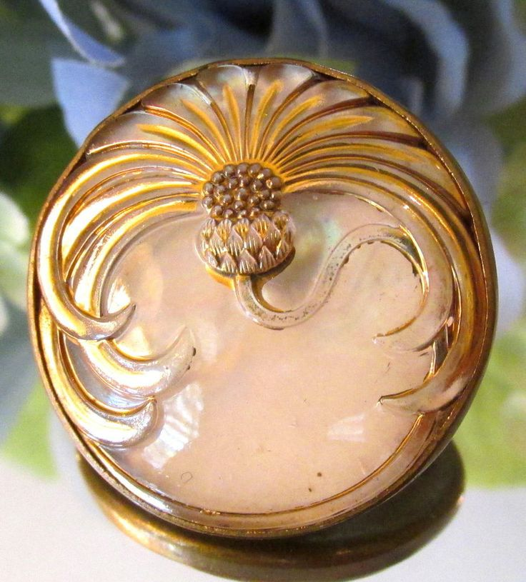 STUNNING FRENCH ART NOUVEAU DESIGN UNDER GLASS THISTLE BUTTON PEARL BACKING S9