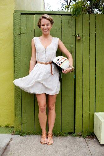 helmet appropriate hair-do & cute dress